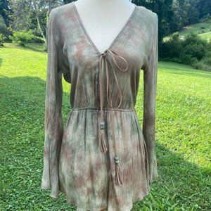 Luxe Boho Long Sleeve Marbled Romper S